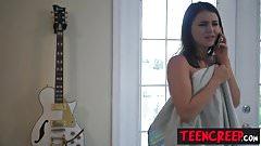 Beautiful brunette teen Kylie Quinn getting broken by cock