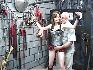 Bitch likes masochism and old guy likes hurt her ass in strange place