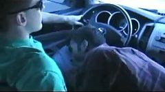 Driving in car gay gives handjob