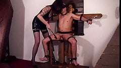 Hot Mistress Ava teasing her slave who is bound and gagged