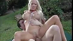 Teen blond sucking cock in the park