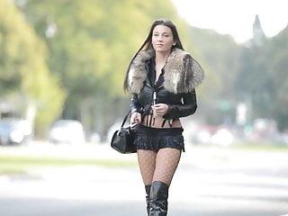 The Best Hooker Exhibitionist In Microskirt High Heels Boots