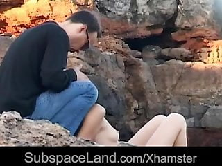 Submissive Yenna spanked and mouth fucked in a rocky spot