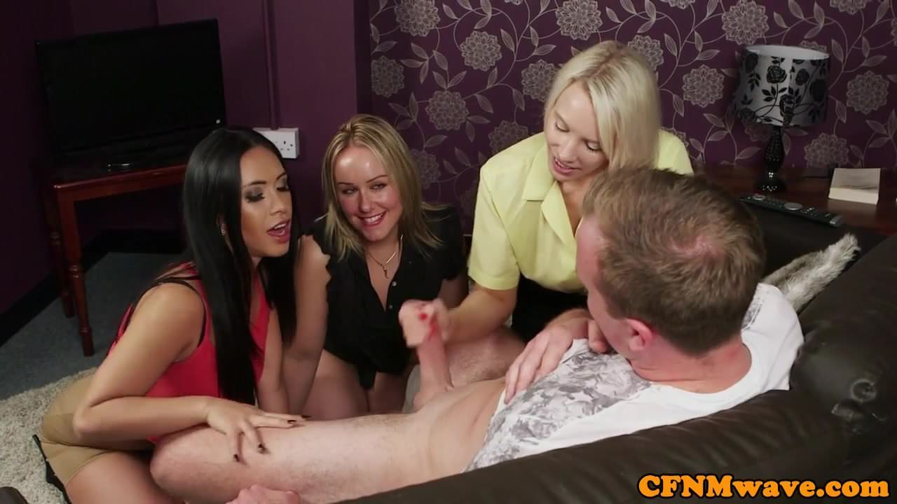 image Glamorous cfnm dom tugging sub in group