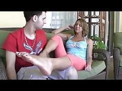 Great mom son footjob