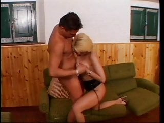 A sexy blonde sucks dick and gets her asshole pounded