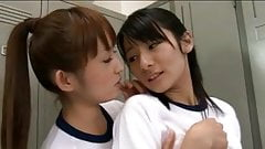 RYOUKO and MIKA lesbian kiss in the locker-room