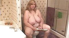 Curvy Sharon on toilet
