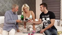 DADDY4K. Blonde-haired dollface Ria Sun tries old dick of...