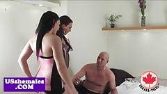 Tgirl trio assfucking in threeway