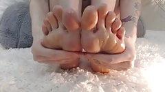 Beautiful Young Girl Worships Her Cute Feet