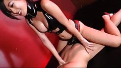 Asian mistress pegs her chaste slave