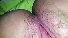 Playing with a hairy pussy