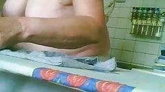 Tits close up on hiddencam ironing