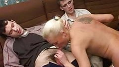 BLONDE MATURE AND 3 COCKS