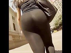 Huge Curvy Round Transparent Ass Jiggling on the Street