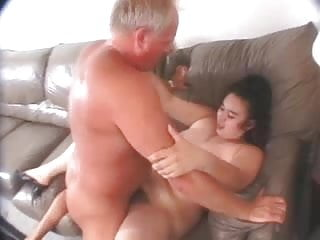 Chubby hairy chick fucked by an older guy