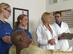 CFNM busty nurse interracially cumsprayed
