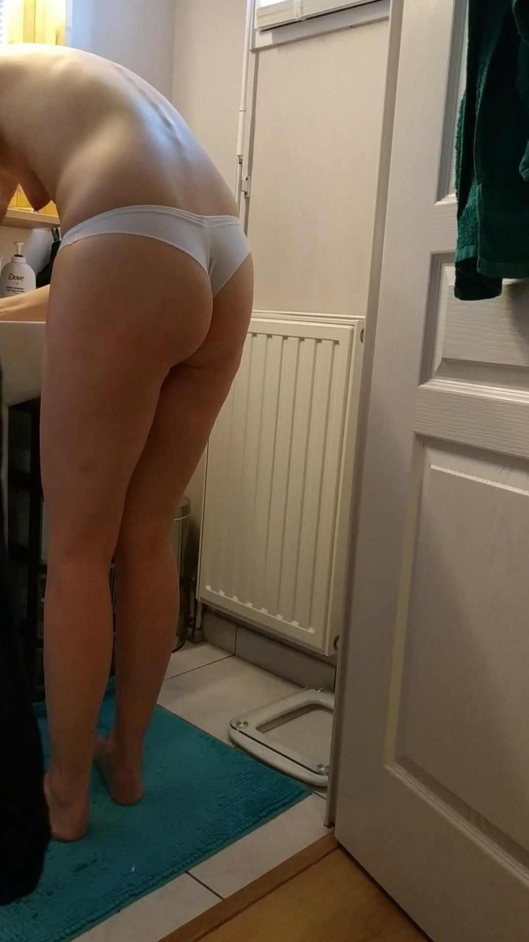 Thong ass butt voyeur in bathroom french