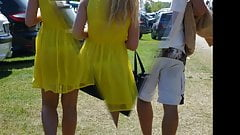 Teen with yellow summer dress with transparent thong ( VPL,