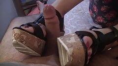 Shoejob With Wood wedge heels on hotel's Thumb