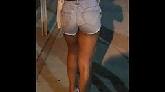 Candid Booty Brown Girl n Jean Shorts