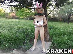 Krakenhot  Bunny girl provocative in a outdoor voyeur video