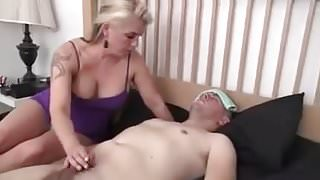 Step Mom gives her sick boy a Handjob