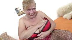 Busty natural grandma with very thirsty vagina