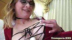 Blonde transsexual amateur jerking cock