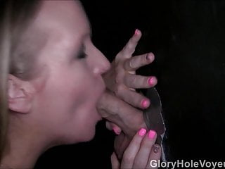Gloryhole Milf Sucks First Cock In Booth