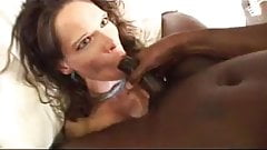 BBC shoots cum on the white bitch's face and tongue
