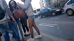 candid short balck pantyhose
