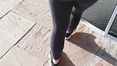 Candid Teen Walking in Leggins on the Shoping Center
