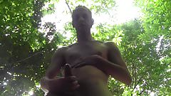 NICE HUGE CUM SHOWER OUTDOOR, IN PUBLIC FOREST, AMATEUR SOLO