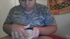 Fat boy cums on plate