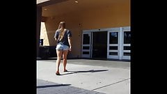 Candid voyeur thick hot blonde at Walmart in shorts