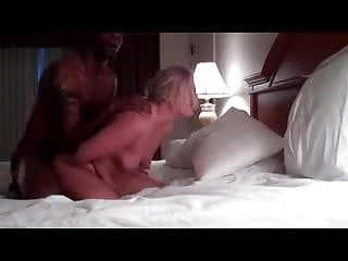 Blonde girl fucked doggy style by young black