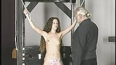 Slim brunette captive with sma