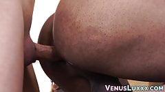 Hot Asian tbabe pounding handsome black masseur