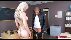 Blonde Bitch Sucks Him off in Classroom