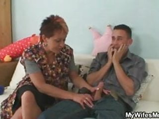 Cock hungry mother-in-law jumps on his cock
