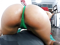 Huge bubblebutt latina giving an oily handjob and tittyfuck Thumbnail