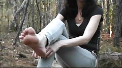 cumshot soles in the woods