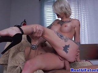 Tattood Blonde Milf Plowed In Butthole