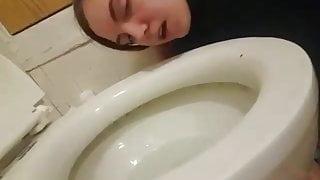 Nasty Fuckslut Haley Hess licks a toilet