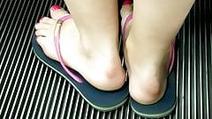 Candid feet --- Swedish hot girl on escalator's Thumb
