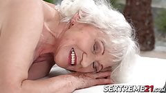 Horny granny Norma needs young hard cock on a massage table's Thumb