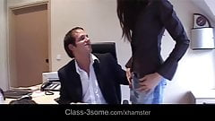 Maid and office assistant threesome with the boss