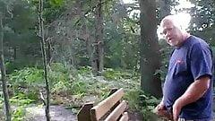 Daddy cums in backyard